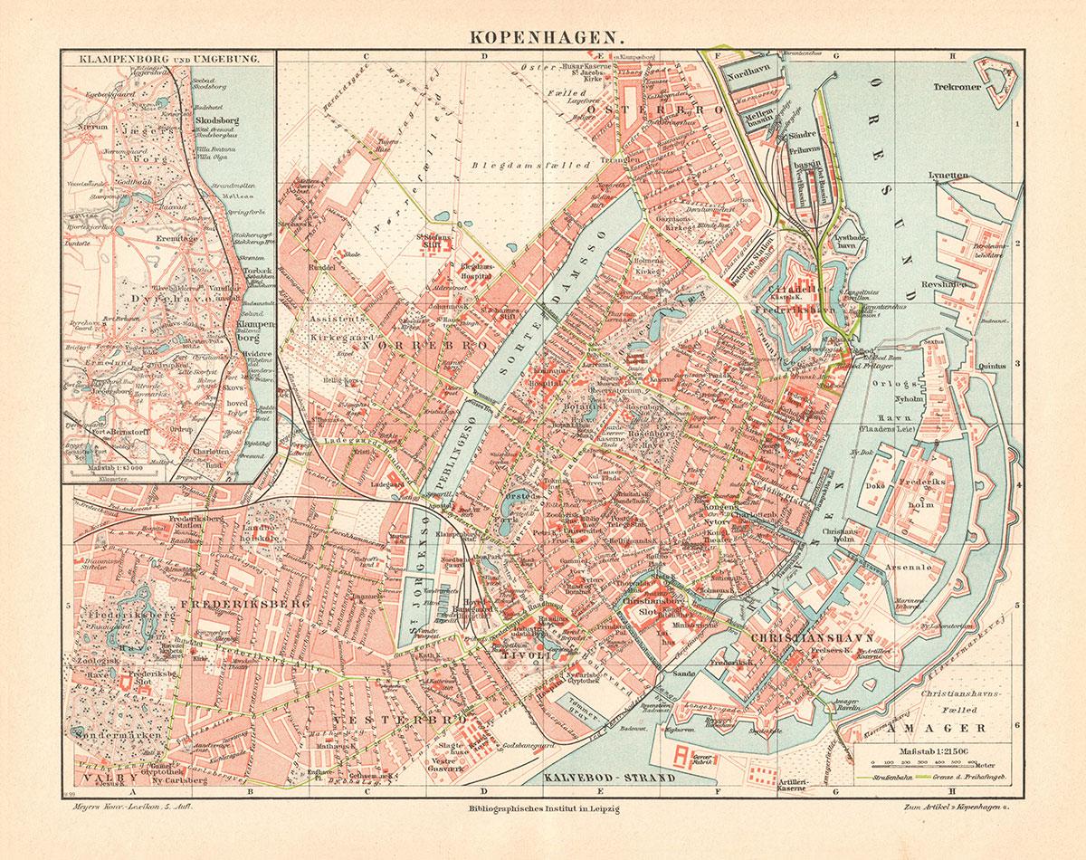 kart over københavn Opptrykk kart over København anno 1897 | Kuriosart kart over københavn