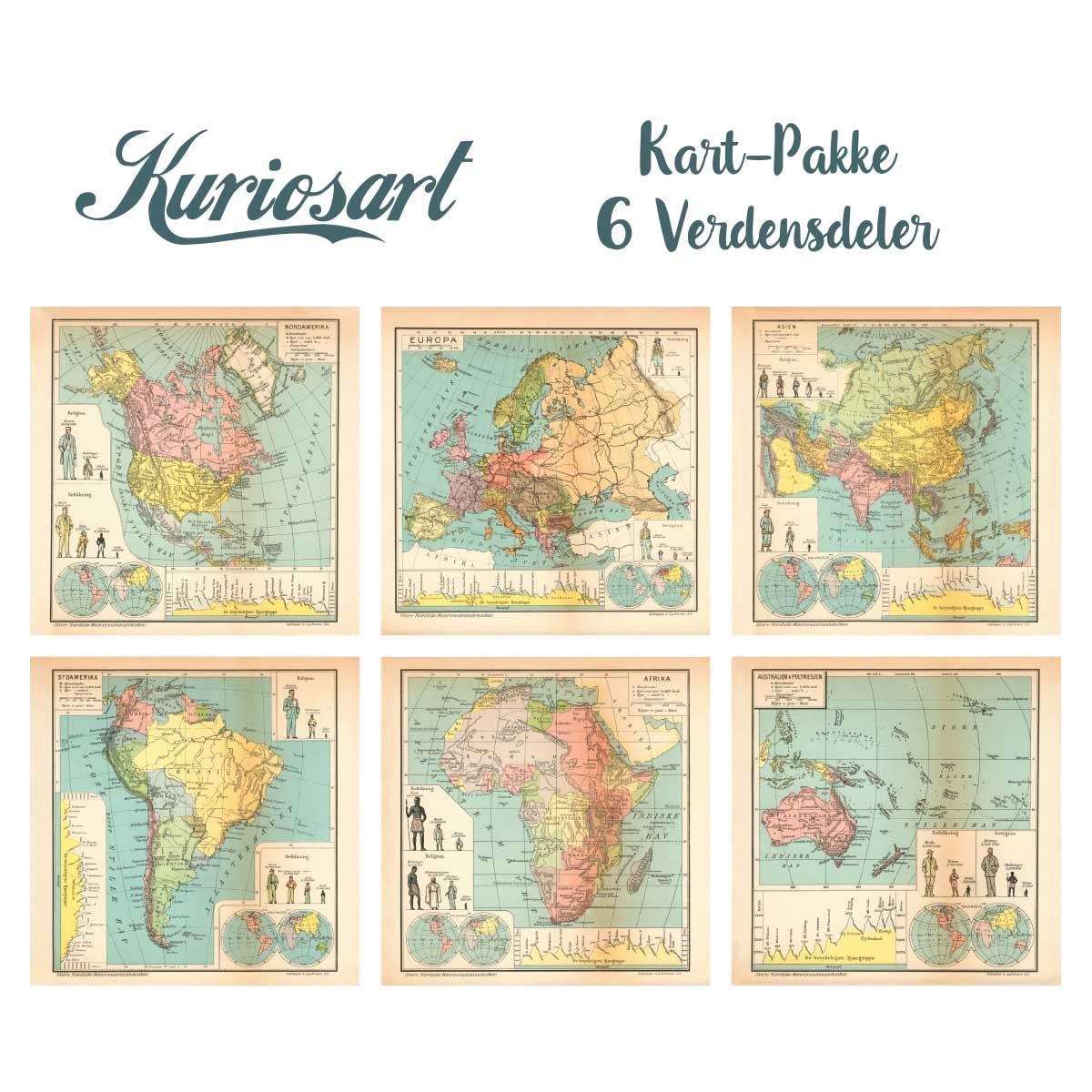antikke kart 6 Kart over verdensdeler, Opptrykk | Kuriosart antikke kart