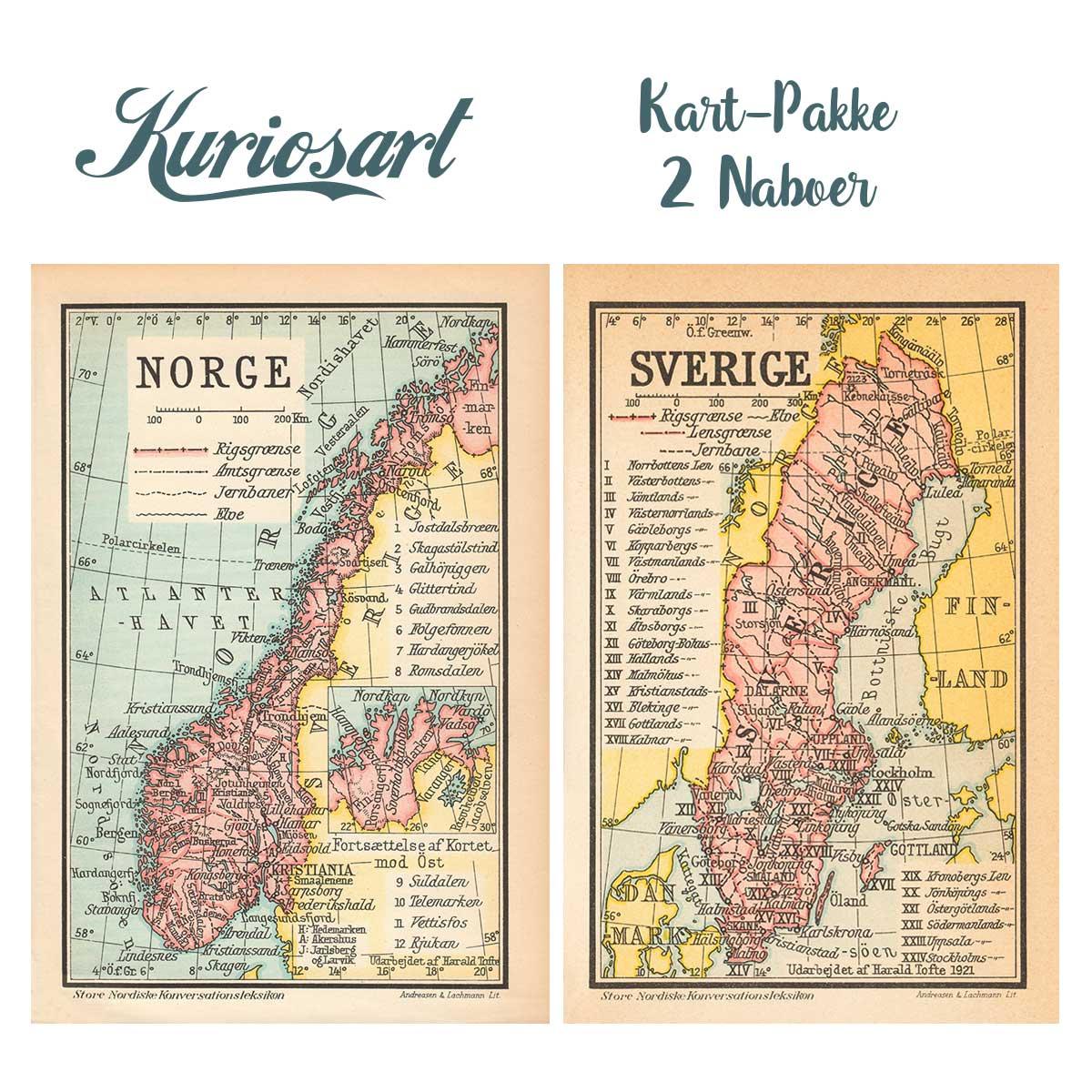 antikke kart Kart pakke – Norge & Sverige fra ca 1916 | Kuriosart antikke kart